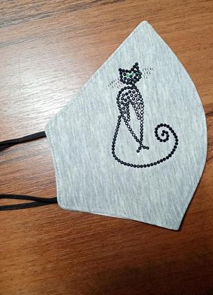 Маска для лица со стразами кошка маска с кошечкой