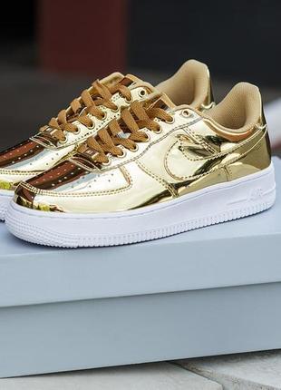 Nike air force 1 sp liquid metal gold 🍏 стильные женские кроссовки найк