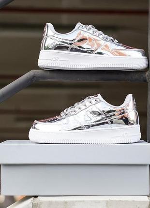 Nike air force 1 sp liquid metal silver 🍏 стильные женские кроссовки найк