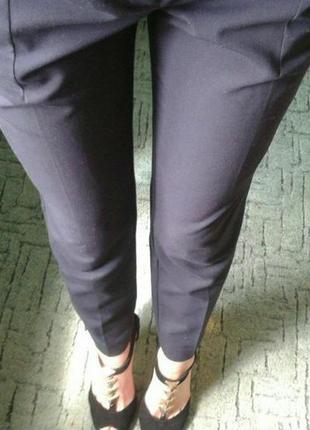 Mango брюки штаны темно-синие деловые строгие официальные костюм 38