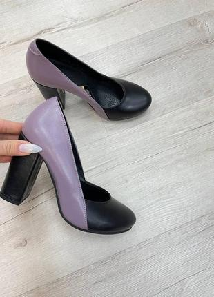 Туфли на удобном каблуке кожа замш