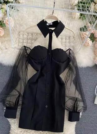 Черные мини-платья с открытыми плечиками