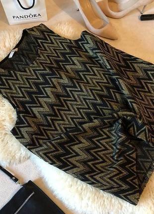 Роскошная и стильная блуза майка с золотым люрексом в зигзаги, р. 14/42...❤️🍓💋