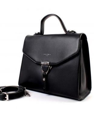 Женский черный клатч david jones td014 оригинал черная сумка кроссбоди через плечо