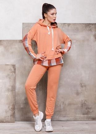 Терракотовый комбинированный спортивный костюм