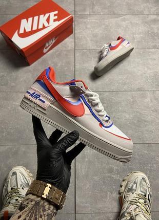Женские кроссовки nike air force shadow grey red blue