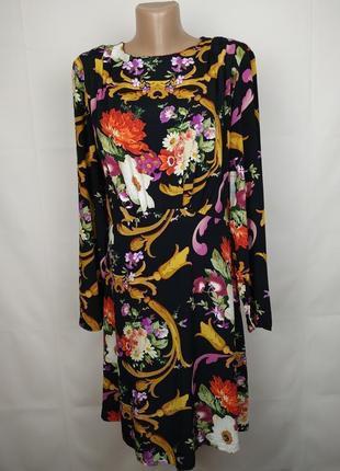 Платье стильное модное в принт на подкладке uk 12/40/m