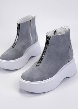 Ботиночки =nikart=, серые, натуральная замша, деми