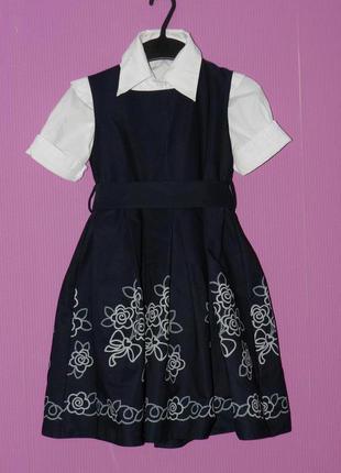 Очень красивый нарядный сарафан в школу1-3кл, блузка в подарок