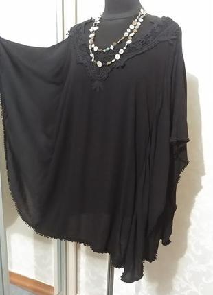 Натуральная свободная блуза туника кружево кроше бохо
