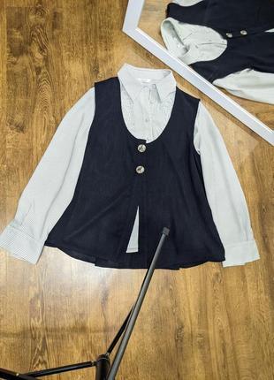 Костюм тройка: блузка, жилетка, юбка миди.2 фото