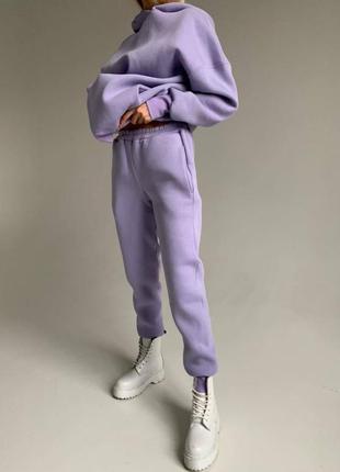 Спортивный костюм худи с капюшоном  штаны с высокой посадкой лаванда