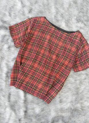 Блузка кофточка прямого кроя в клетку topshop
