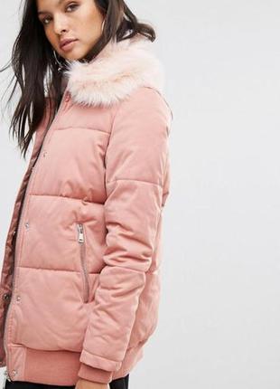 Теплая пудровая курточка зефирка с кармашками river island