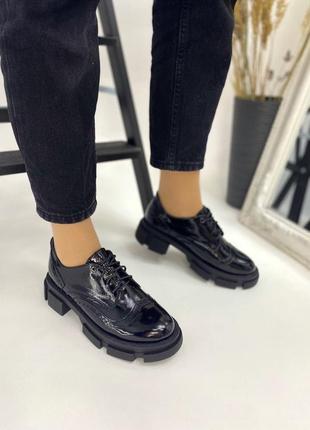 Лаковые женские туфли на тракторной подошве 💥 6729-1