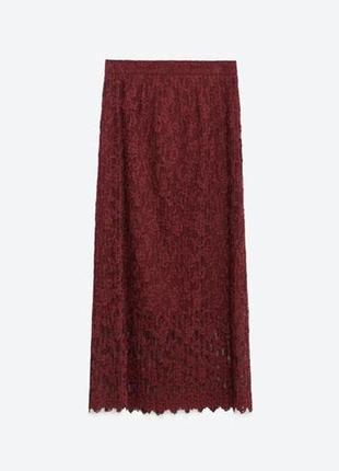 Нереальной красоты zara woman кружевная плиссе миди юбка марсала бургунди высокая талия