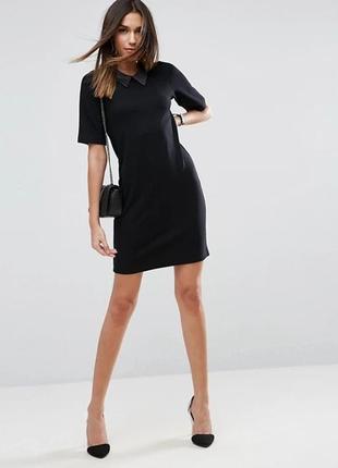 Asos асос платье чёрное прямое с воротником из эко кожи базовое