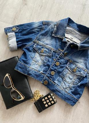Укороченная джинсовая куртка1 фото