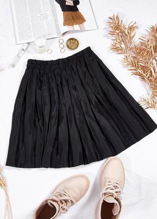 Черная юбка-плиссе, короткая юбка солнце, мини юбка, чорна спідниця міні