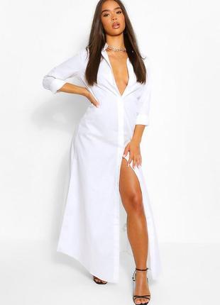 Длинное белое платье 🔥boohoo🔥 платье рубашка оверсайз