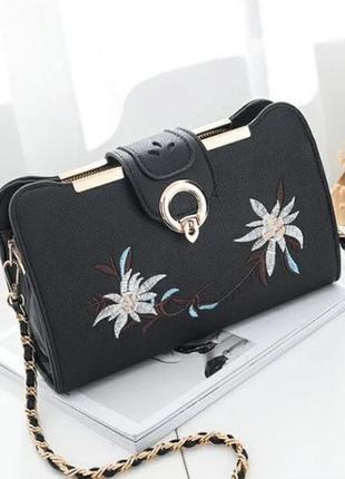 Женская модная сумочка клатч с вышивкой мини сумка через плечо
