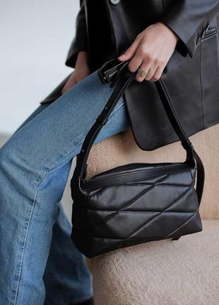 Молодежная женская черная сумка-клатч через плечо с длинной ручкой