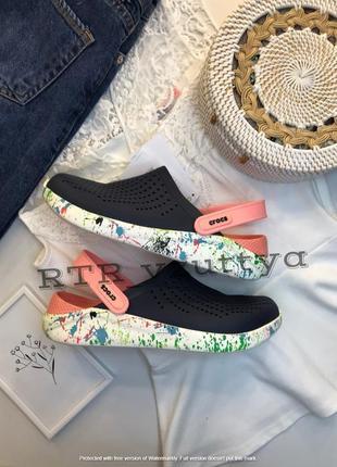 Crocs сабо кроксы literide™ clog navy/melon (кляксы розово-синие)