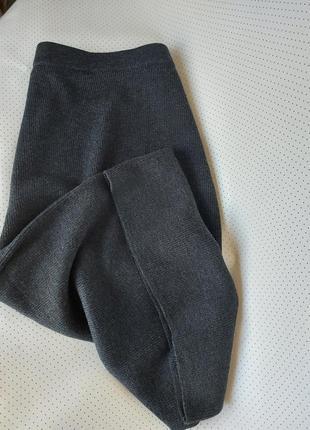Шерстяная юбка миди в рубчик