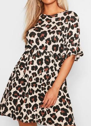 Стильное свободное платье в леопардовый принт от boohoo