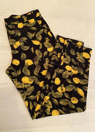 Брюки женские zara, брюки с лимонами zara
