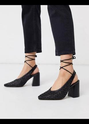 Черные босоножки  на каблуке с заостренным носком asos design