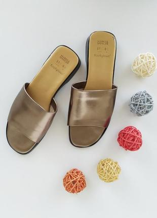 Кожаные шлёпанцы бронзового цвета