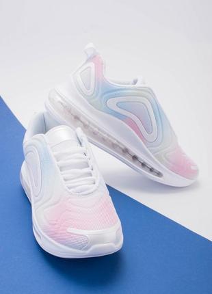 Стильные белые кроссовки на платформе толстой подошве сетка разноцветные радуга
