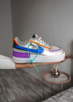 Nike air force 1 shadow metallic silver 🍏 стильные женские кроссовки найк форси