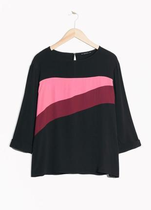 Чёрная черная блуза блузка рубашка в полоску & other stories