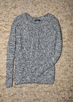 Крутой меланжевый брендовый вязанный свитер оверсайз от autograph