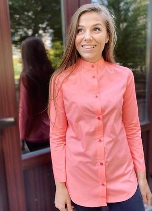 Рубашка розовая, стойка воротник