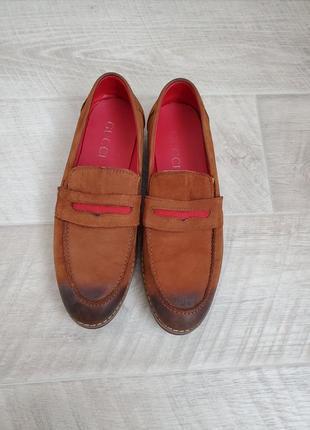 Мужские кожаные туфли мокасины gucci 43 размер