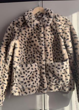 Леопардова шубка зі штучного хутра