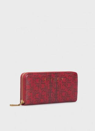 Красный стильный кожаный кошелёк с ремешком replay