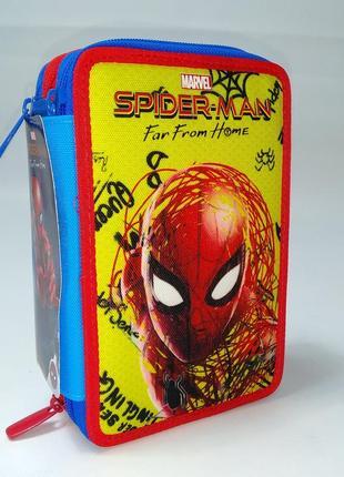 Трех камерный школьный пенал для мальчика spider-man marvel