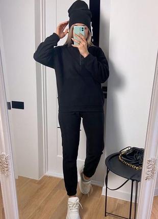 Теплый спортивный костюм: штаны+кофта+шапка