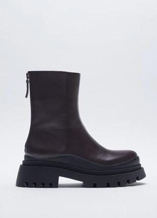 Супер скидка 24 часа кожаные ботинки сапоги ботфорты zara