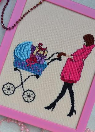 Вишита картина вагітність, вышитая картина покупки, беременная hand made