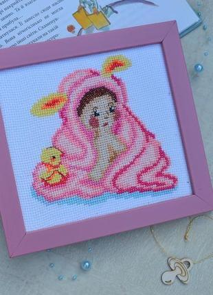 Вишита картина дитина, дівчинка, вышитая картина ребенок, hand made