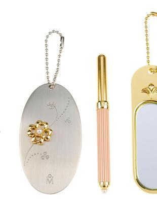 Зеркальце и кисточка для губ с жемчугом микимото набор подарок винтаж япония