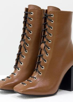 Эксклюзивные кожаные женские коричневые ботинки на шнуровке