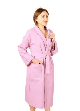 Вафельный халат luxyart кимоно 100% хлопок розовый