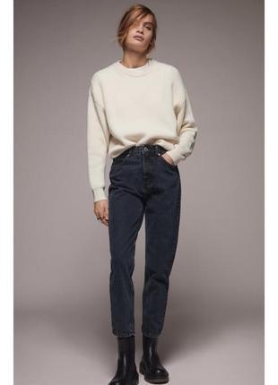 Чёрные джинсы mom fit с высокой посадкой zara mango h&m