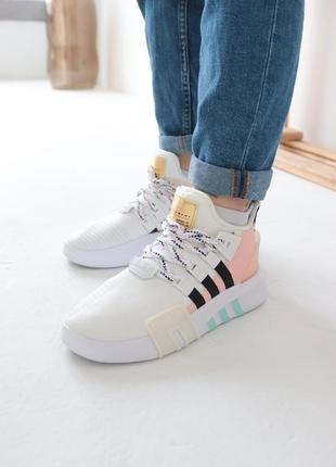 Кроссовки adidas eqt bask adv white адидас ект баск белые